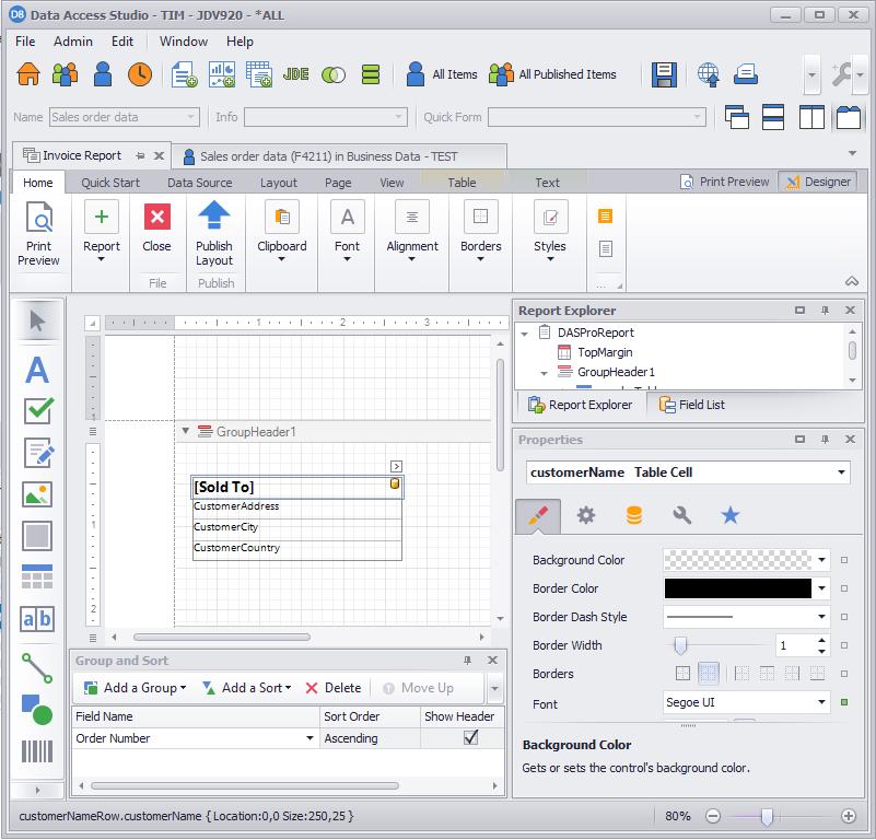 Report Designer for WinForms   ReportsNow DAS User Guide